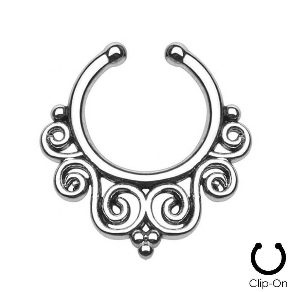 Tribal Swirls Non-Piercing Septum Hanger (Rose Gold) PiercePlex