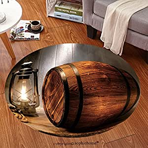 Sophiehome Soft Carpet 111261332 Old wood antique whisky wood barrel or rustic wine keg container with vintage kerosene lamp light lantern in smoke like fog in Anti-skid Carpet Round 24 inches