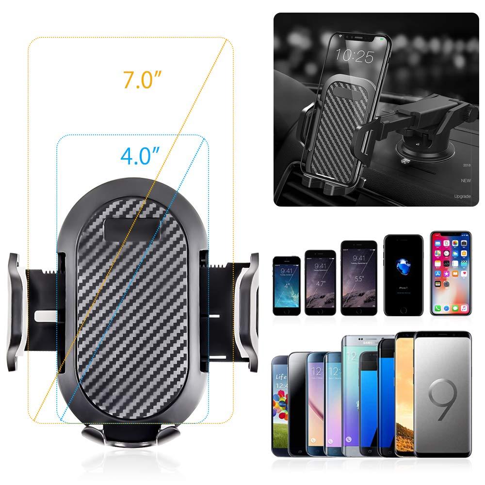 Android Smartphone y GPS Dispositivo Soporte M/óvil Coche hanmir Soporte M/óvil Coche para Salpicadero//Parabrisas//Rejillas del Aire de Coche 360/° Rotaci/ón Telesc/ópico para iPhone x//8//7//6 Plus//6s//5s//SE