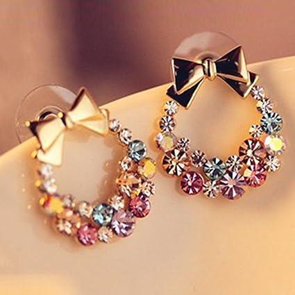 Elegant Women Lady Fashion Rhinestone Triangle Ear Stud Earrings Crystal Jewelry