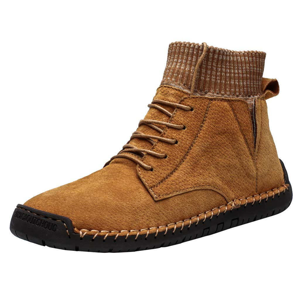 HAALIFE◕‿Mens Suede Fur Lining Boots Comfy Leather Comfortable Lace-up Casual Ankle Chukka Boots Yellow by HAALIFE Shoes