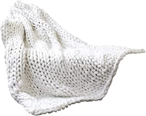 Xiaoxingyun Throw Blanket, Chunky Knit Blanket Cozy Handmade Bed Sofa Throw Pet Bed Chair Blanket Home Decor Gift, 50 x 50cm, White