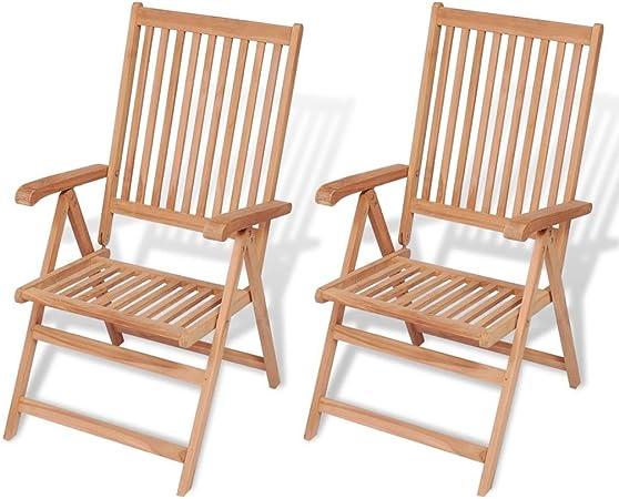 Festnight 2PCS Chaise Pliable en Bois de Teck Chaise pour Jardin Balcon 57  x 71,5 x 109 cm
