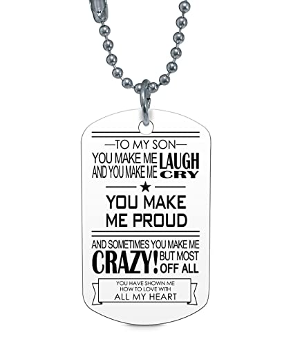 Son Dog Tag Gifts - To My Son Make Laugh Proud Dog Tag For