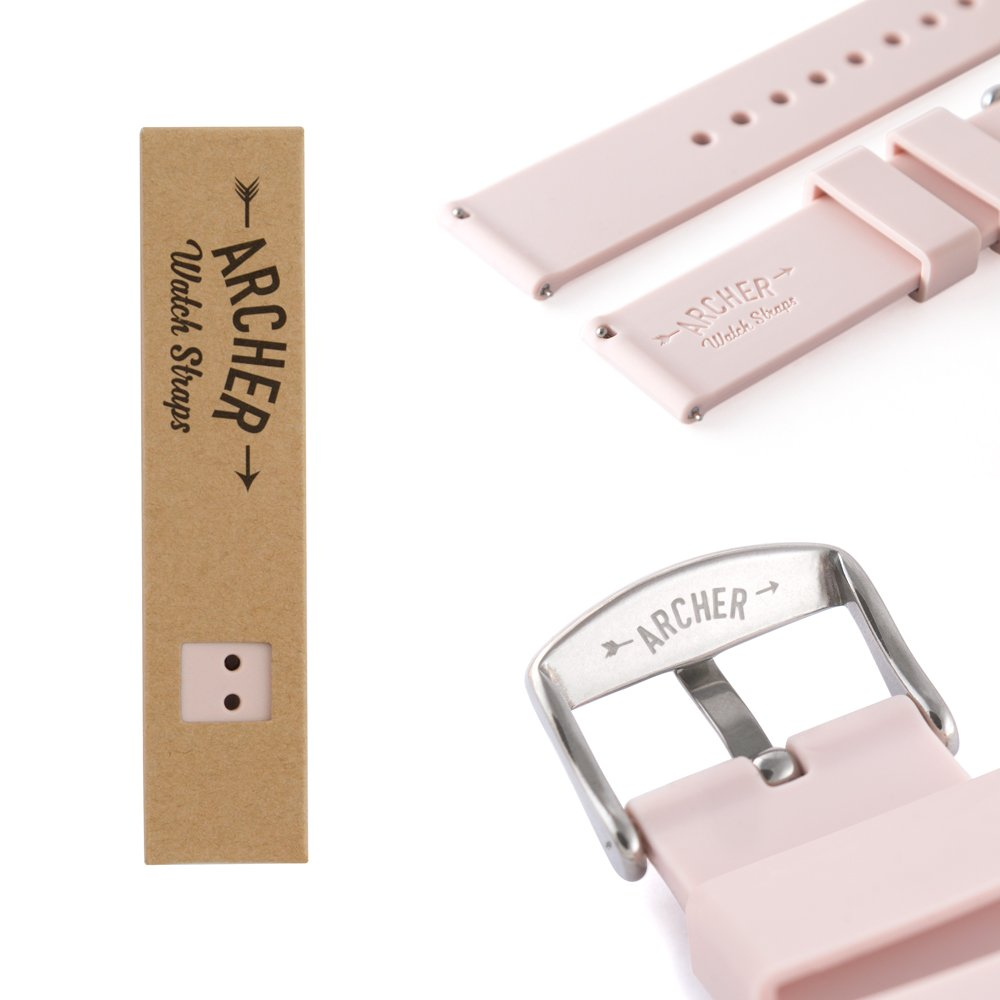 Archer Watch Straps | Silicone Quick Release Soft Rubber Replacement Watch Bands for Men and Women, Watches and Smartwatches (Pale Rose, 18mm) by Archer Watch Straps (Image #5)