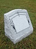 Granite Headstone Slant w/ Cross & Flowers