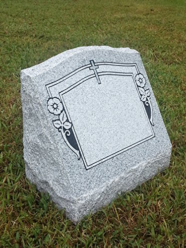 Granite Headstone Slant w/ Cross & Flowers