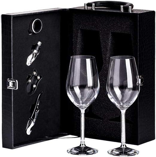Caja de regalo con cristales, copa de vino, copas de vino, caja de cuero creativa para copas de vino, caja de regalo Leather suit: Amazon.es: Hogar