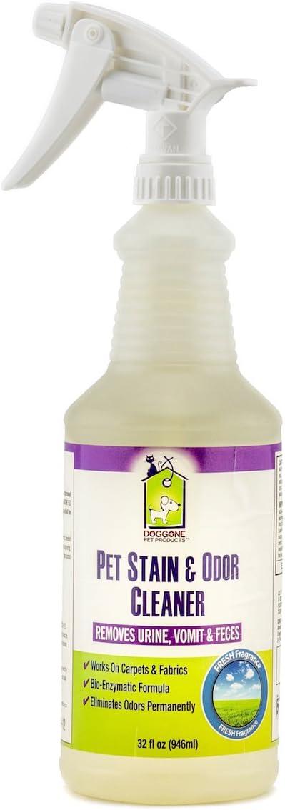 Pet orina eliminador de manchas y olor limpiador en spray quitamanchas 32 oz, diseño de gato y perro y enzimática enzima orina – profesional fuerza bacterias enzima Destructor de la orina Manchas