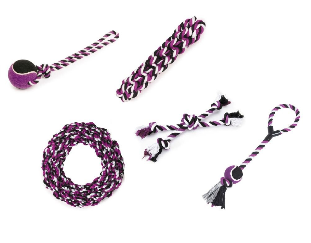 Large Dog Tough Rope Toy 5 Pack Gift Set Blue Pink Or Purple