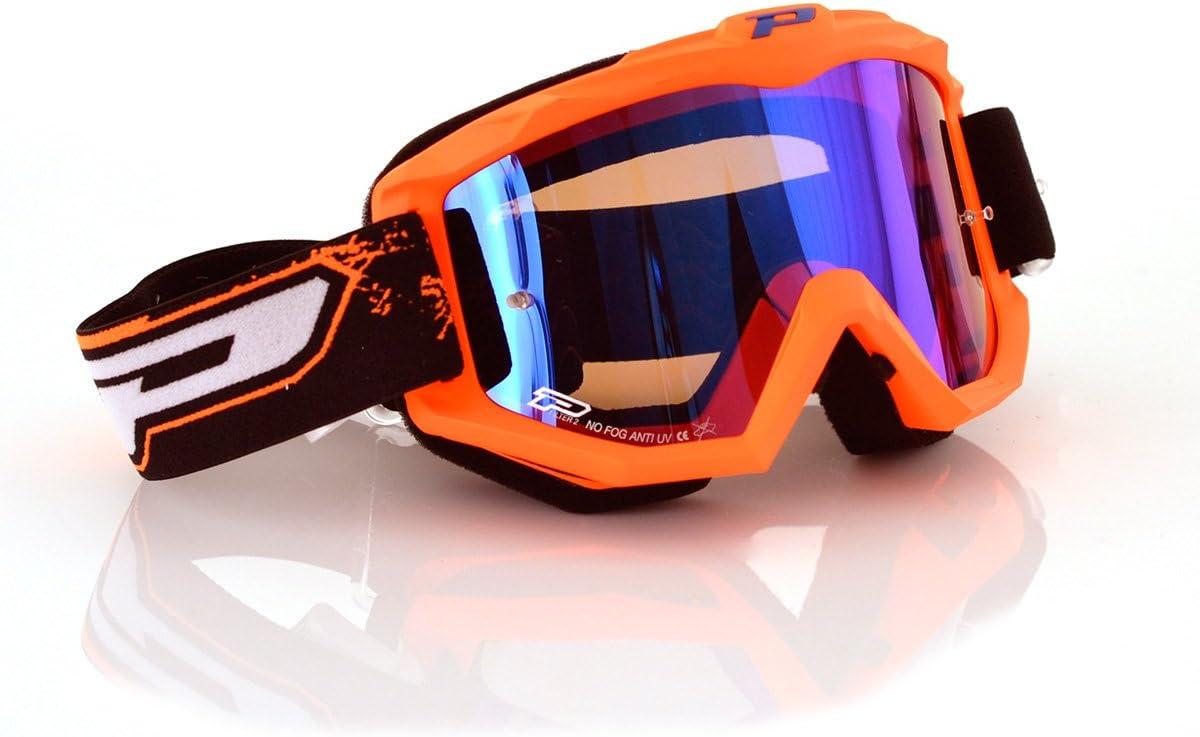 Progrip Gafas Motocross 3204, Naranja Fluorescente/Azul, Talla Única