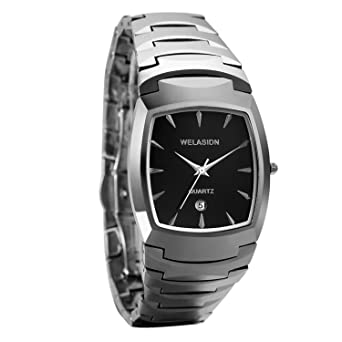 Avaner Mens Luxury Tungsten Carbide Steel Wrist Watch Square Dial Analog Quartz Date Display Dress Watch