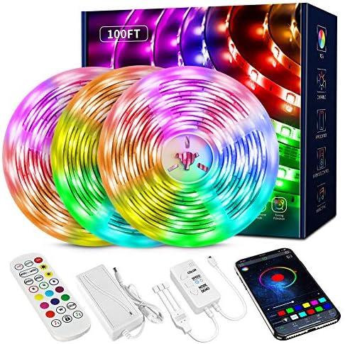 100FT LED Strip Lights,Smart Music sync LED Strip Lights,Bluetooth led Strip Lights,5050 SMD LED Color Changing Lights, RGB LED Strip Light for Bedroom,Kitchen,Party,Home Decoration
