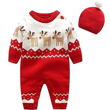 6cf3dce9a27 Zilee Bebe Mameluco Niños Jersey Navidad Mono - Pijama Invierno Bebé Niñas  Algodón Conjunto de Ropa