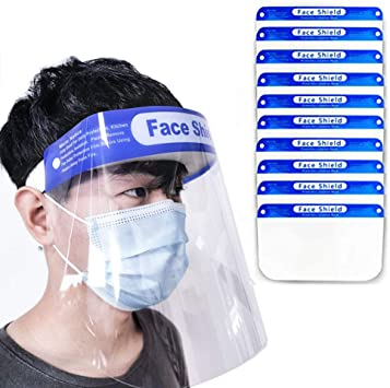 10 PCS Face Shield Protect Eyes Face Cover Full Protective Reusable Transparent Vision for Man and Woman with Clear Film Adjustable Elastic Band and Comfort Sponge