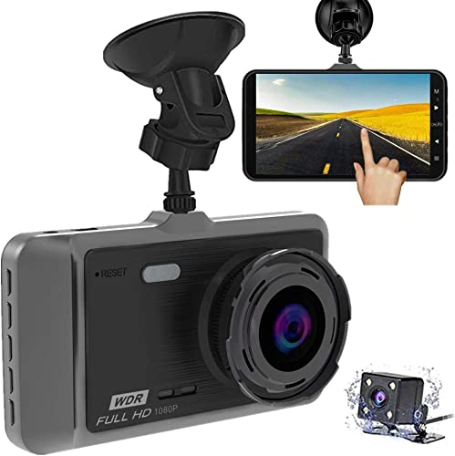 Dash Cam, KALENI 1080P Front and Rear Dual Dash Camera with Full HD 4 LCD Screen, 170 Wide Angle Lens Dashboard Camera with G-Sensor, Loop Recording, Rear View and Motion Detection