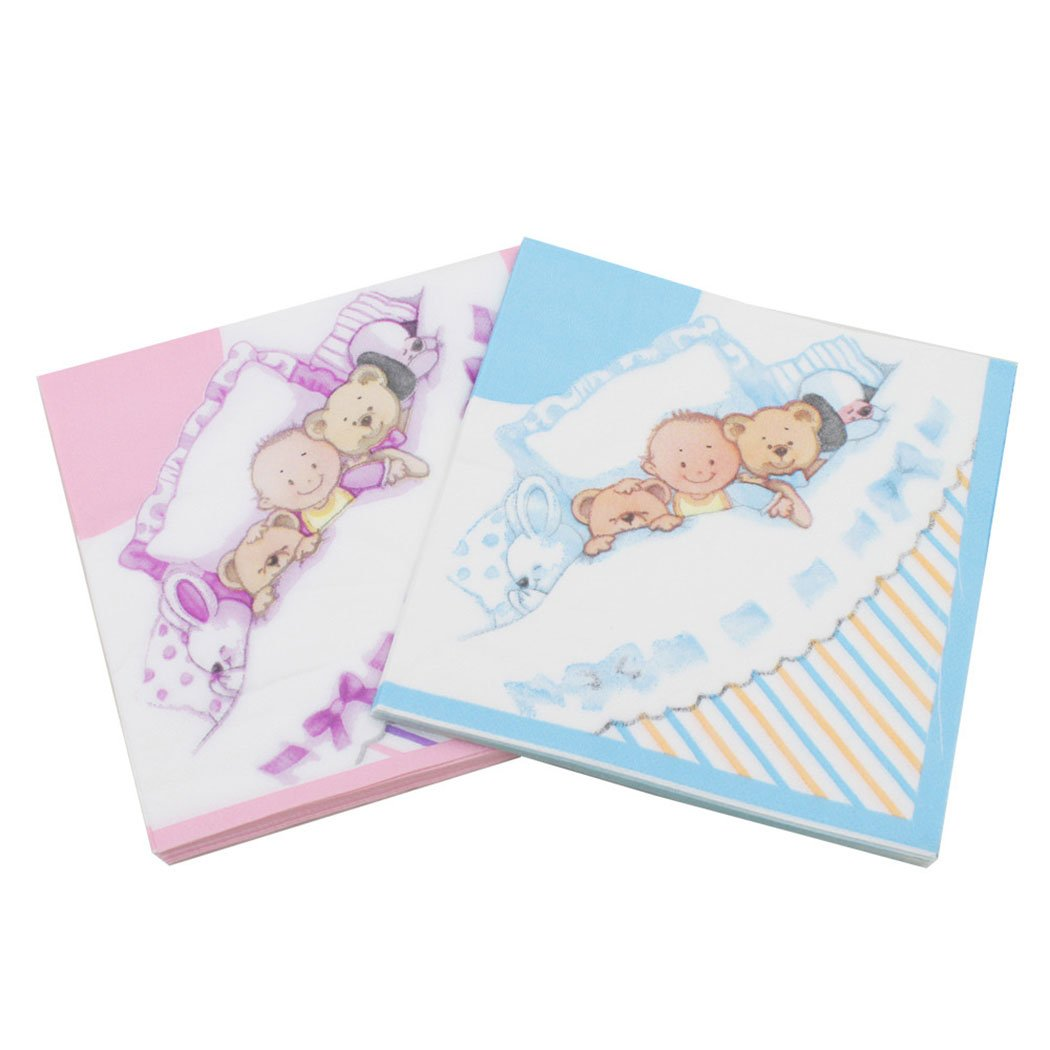 Coxeer 100PCS Cute Napkin Paper Napkin Cartoon Bear Printed Napkin for Birthday Baby Shower Party by Coxeer (Image #2)