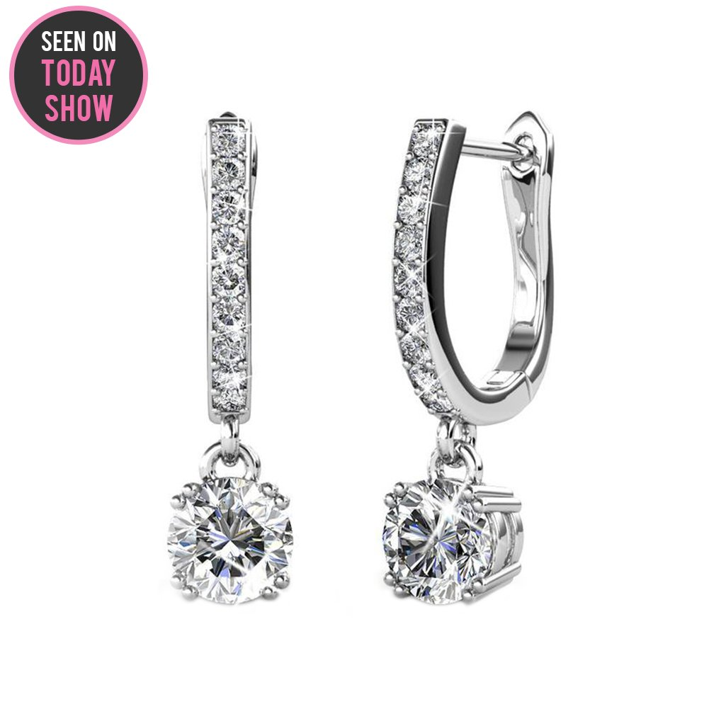 Cate & Chloe McKenzie 18k White Gold Dangling Earrings with Swarovski Crystals, Solitaire Crystal Dangle Earrings, Best Silver Drop Earrings for Women, Channel Set Drop Horseshoe Earrings MSRP $136