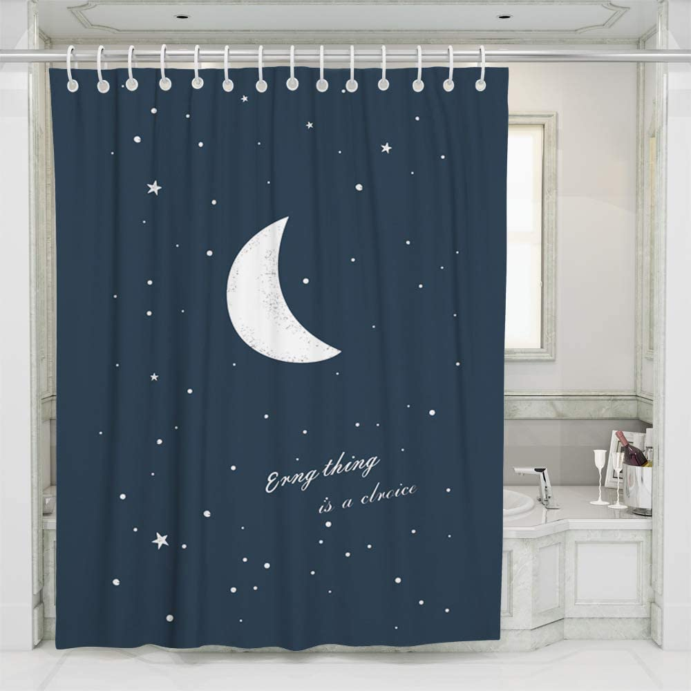 ufengke Shower Curtain Stars and Moon with 12 Hooks Dark Blue Fabric Curtain Polyester Waterproof for Bathroom 72