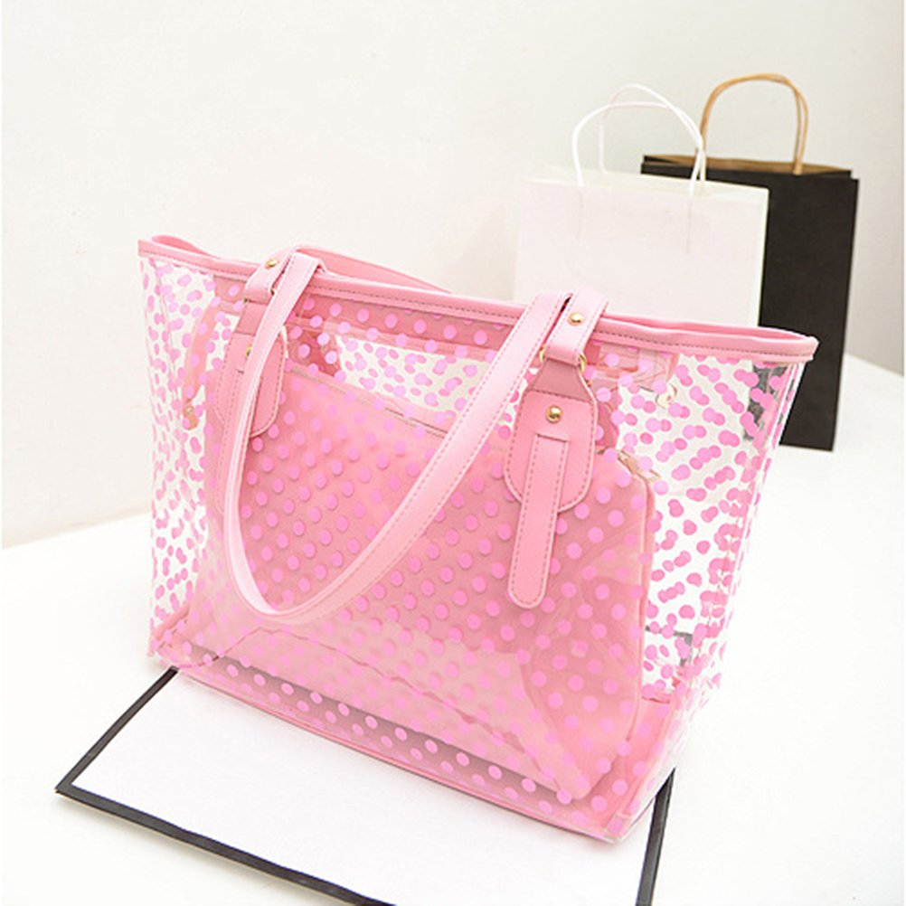 Amazon.com  OULII Clear Zippered Tote Bag Dots Patterned Women Transparent  Beach Handbag with Inside Purse Bag (Pink)  Clothing a401514691