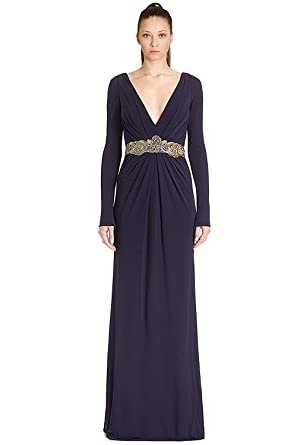 9b91d72a52a Amazon.com  Badgley Mischka Couture Embellished V-Neck Evening Gown ...