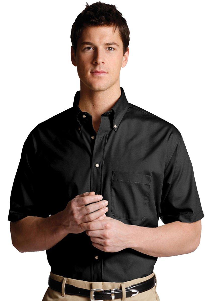 Edwards Men's Easy Care Short Sleeve Poplin Shirt, BLACK, 3XLarge