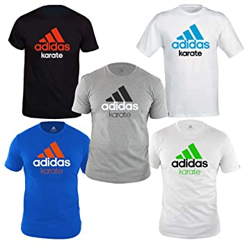 Adidas Community T Shirt with Karate Print, GRIGIO NERO, XS