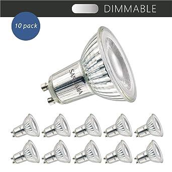 Sanlumia Bombillas LED GU10, Regulable, 7W=75W Halógena, 650Lm, Blanco Frío (6400K), 38 ° ángulo de haz, Iluminación de Techo para Cocina, Oficina, ...