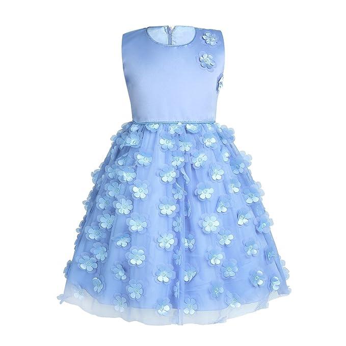 iEFiEL Vestido de Princesa con Flores Fiesta Niña Vestido Infantil Bautizo Boda Dama de Honor Azul