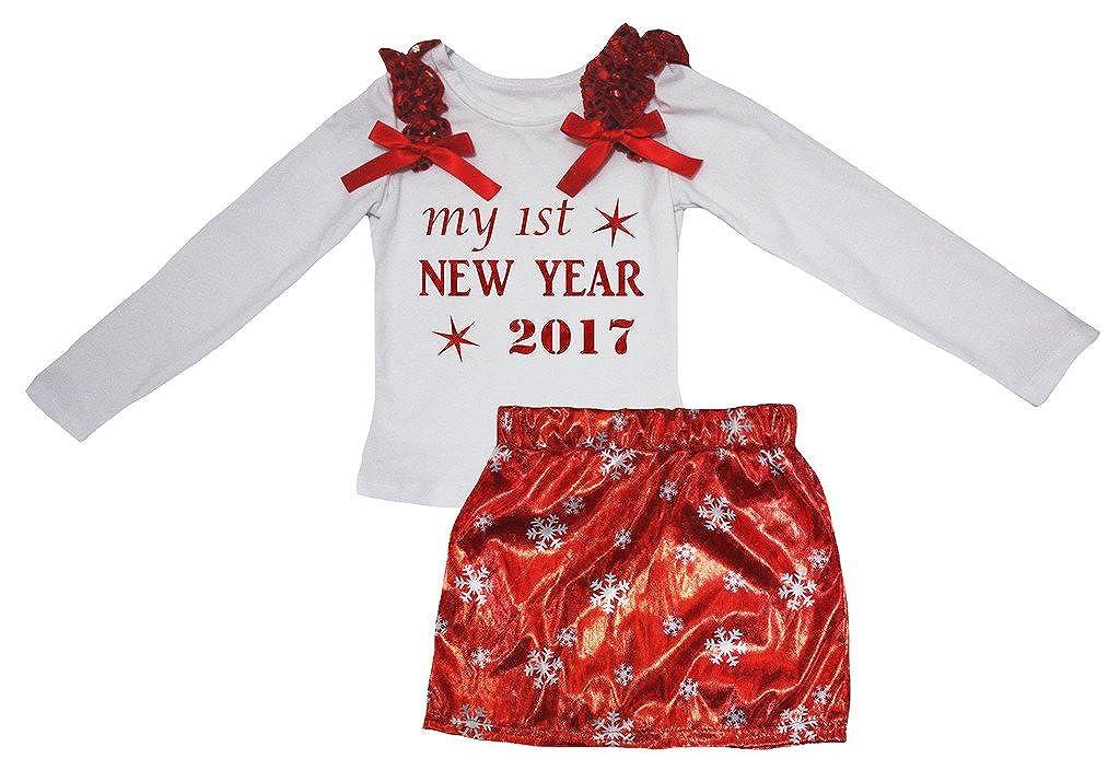 Petitebella My 1st New Year 2017 White L//s Shirt Snowflake Red Skirt Set 1-8y