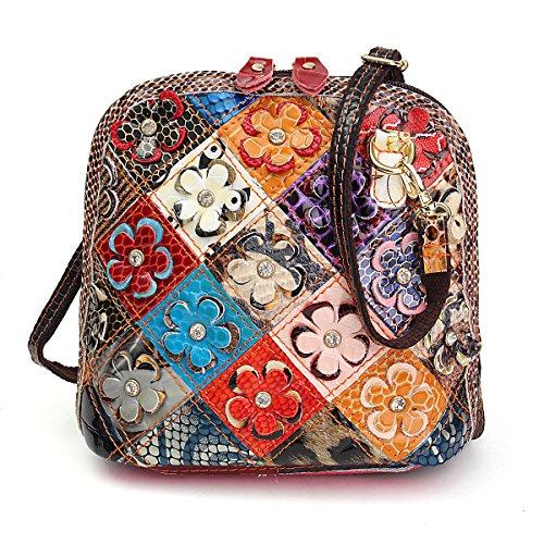 OURBAG Women Genuine Leather Diamond 3D Floral Shoulder Handbag Messenger Bags Square Patchwork Crossbody Bag Purse Multicolor