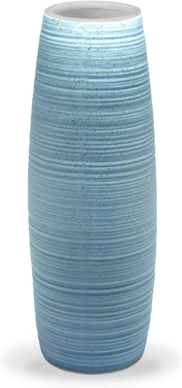 Flower Bouquet Vase, Dr.Cerart 8.5 Inch Blue Textured Ceramic Vase for Home Decor, Centerpieces, Office - Ideal Present Choice