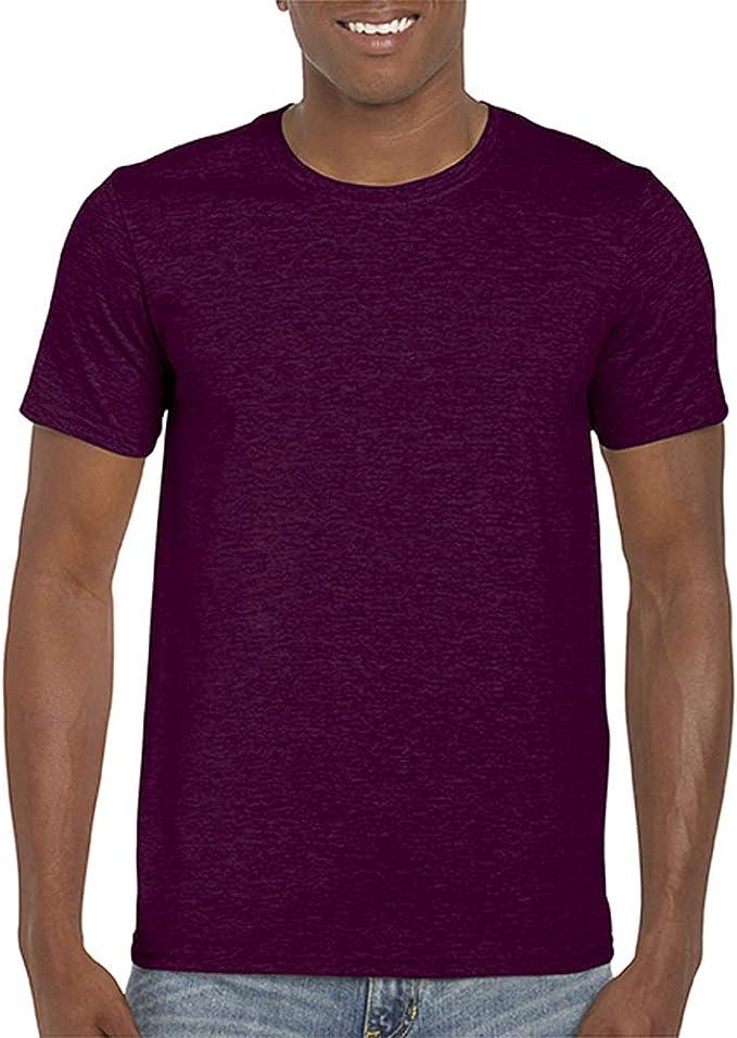 Gildan Suave Básica Camiseta de Manga Corta Para Hombre - 100% Algodón Gordo (3XL/Granate): Amazon.es: Ropa y accesorios