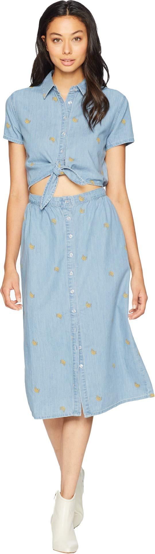 Juicy Couture Women's Banana Print Chambray Midi Shirtdress Mojave Wash Medium