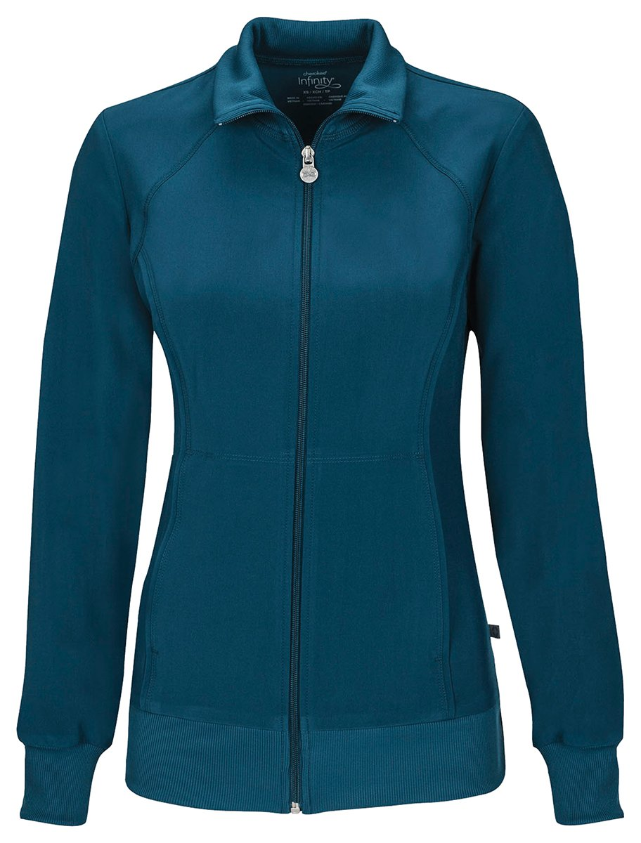Cherokee Women's Zip Front Warm-Up Jacket_Caribbean Blue_Medium,2391A