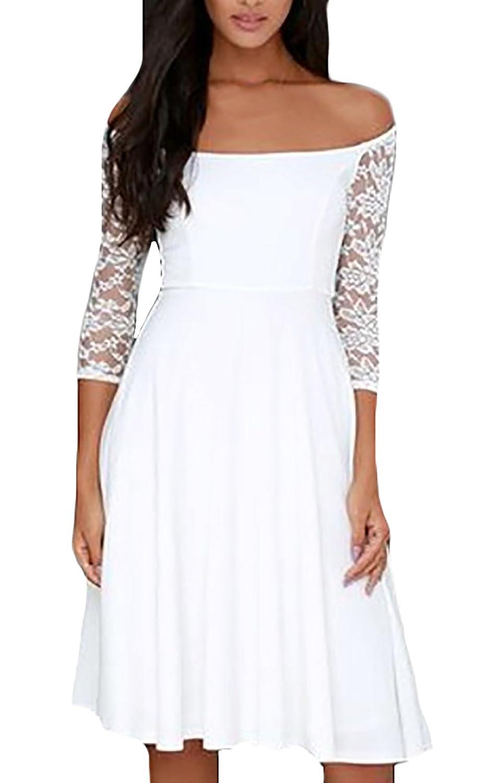Abendkleider Kurz Elegant Weiß Rückenfrei Schulterfrei Ärmel One Shoulder  Figurbetont V Ausschnitt Unique Ballkleid Kleider: Amazon.de: Bekleidung