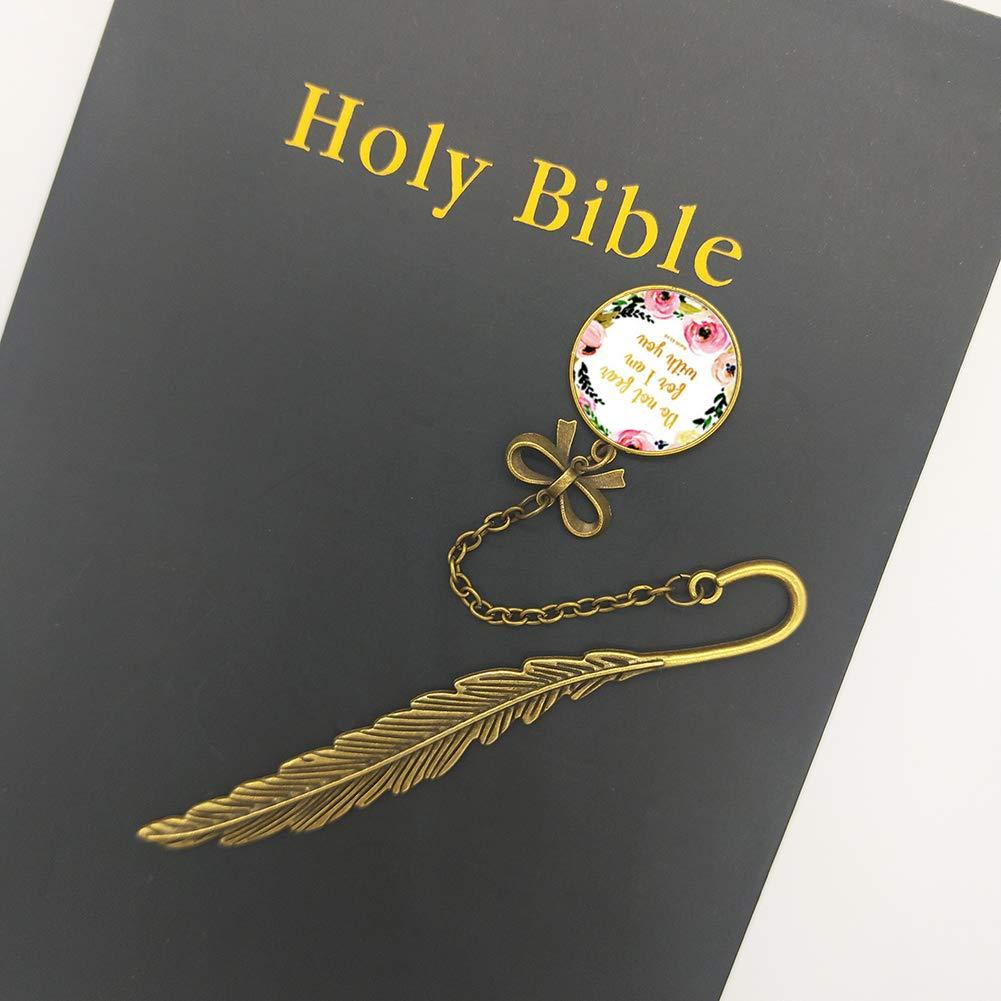 Marque-page en m/étal avec plumes et inscription en anglais Cadeaux dinspiration chr/étienne pour les amis et la famille 16 Psalm 91:4