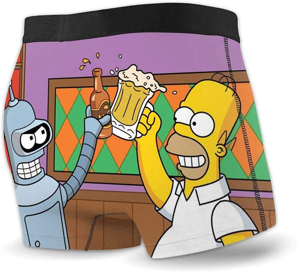 Yellowbiubiubiu Simpsons Cartoon Anime Mens Underwear Stretch Boxers Briefs for Men Short Leg Underpants Breathable Comfortable Fiber Pack