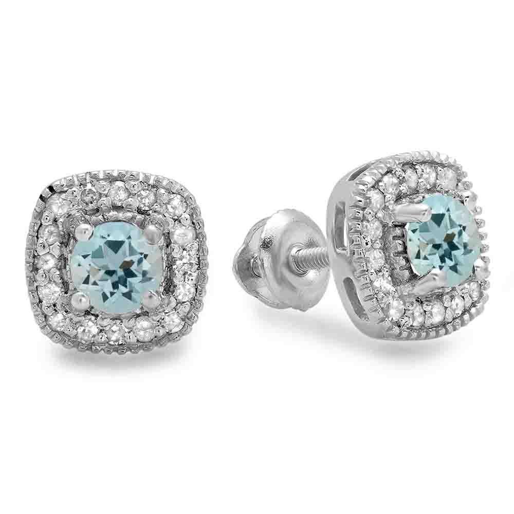 Sterling Silver Round Aquamarine & White Diamond Ladies Halo Stud Earrings
