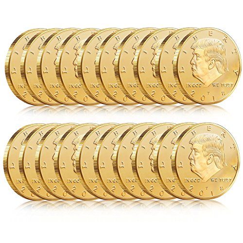 20 Pack - Donald Trump Gold Coin Token 2018 24kt Gold Plated Collectible 45th President of the United States Original Design