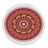 iPrint Thick Round Beach Towel Blanket,Elephants Decor,Round Pattern with Decorated Elephants Meditation Faith India Tribal,Multi-Purpose Beach Throw
