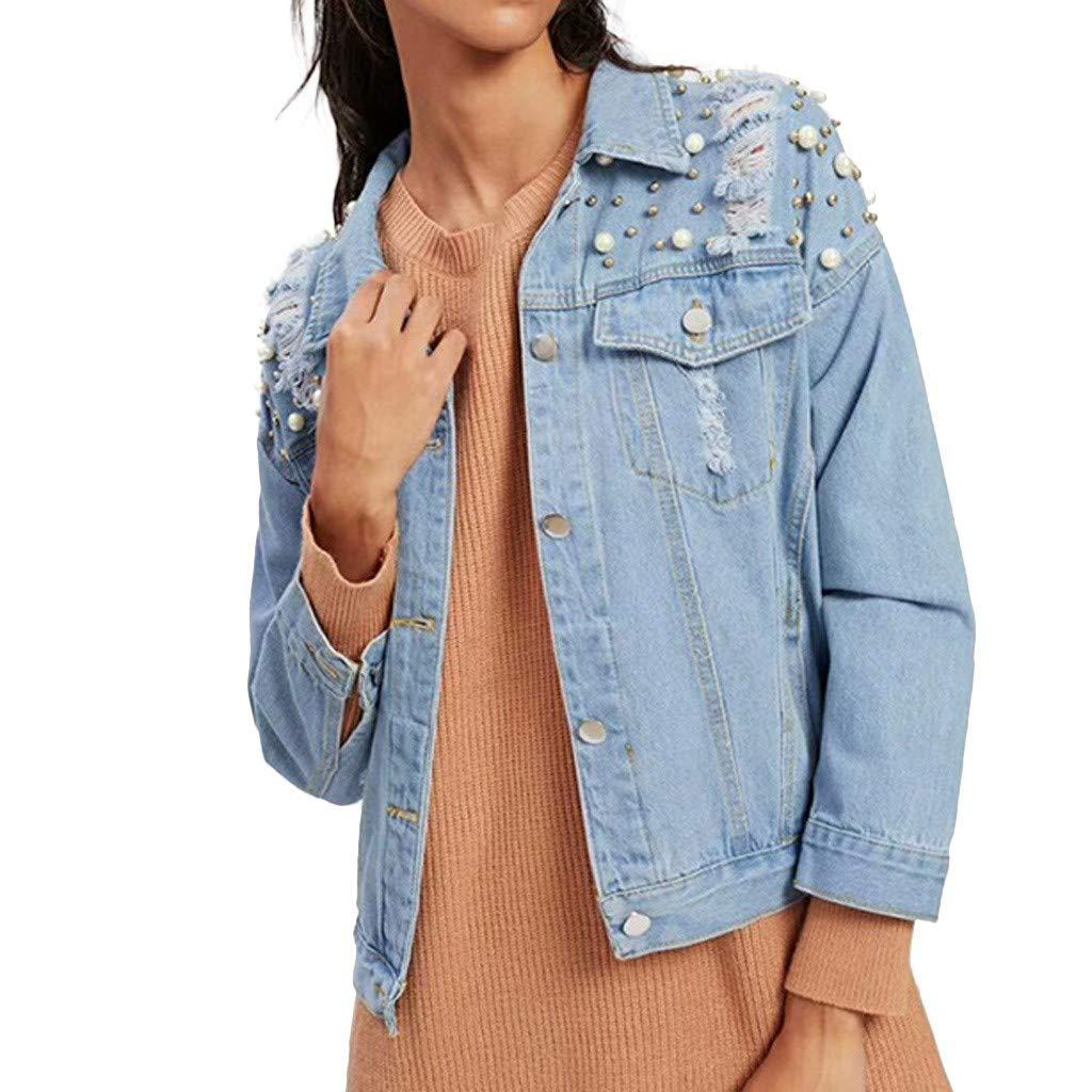 Fanteecy Women Oversized Denim Jacket Pearls Beading Jeans Coat Long Sleeve Boyfriend Ripped Denim Loose Jean Coats by Fanteecy