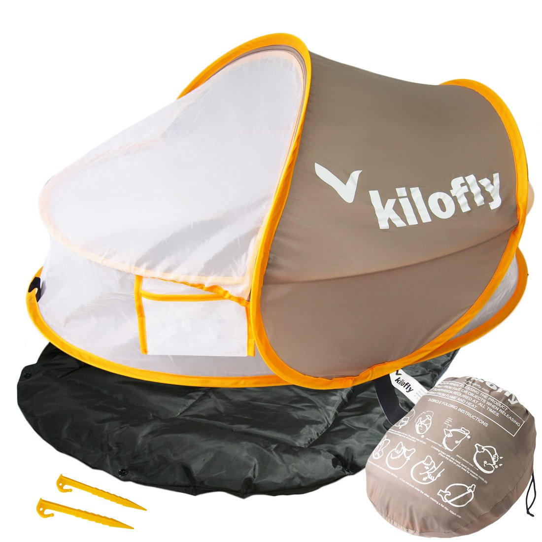 kilofly Instant Pop Up Portable UPF 35+ Baby Travel Bed + Sleeping Pad, 2 Pegs by KF baby