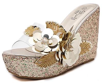 5221cfe1a379 IDIFU Women s Dressy Flowers High Heels Wedges Platform Slide Sandals  Summer Slippers (Gold
