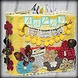 HAPPY Canvas Covered Chipboard Maya Road 3 Ring Binder Scrapbook Album