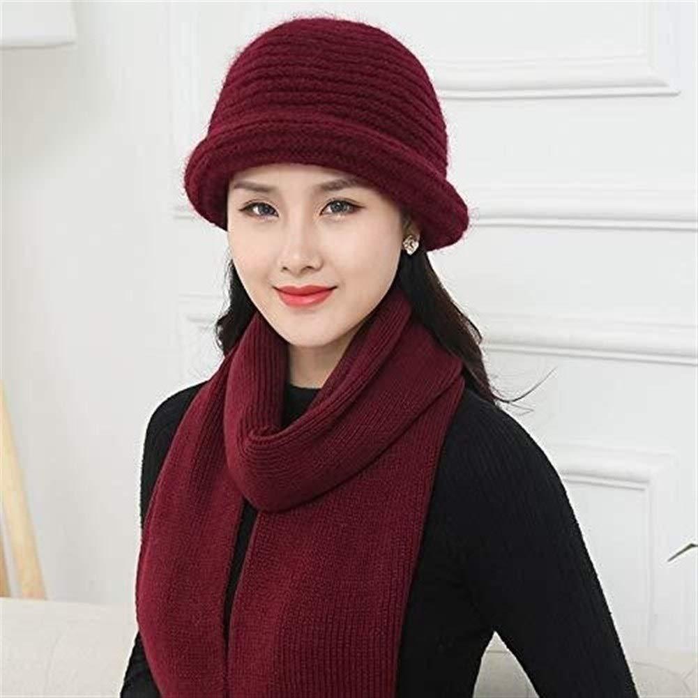 Dertring Women's Wool Bucket Hat Middle Aged Winter Warm Elegant Knit Cap (Color : Burgundy, Size : M)