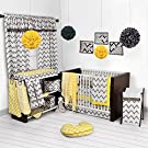 Bacati Ikat Yellow/grey 6 Crib Set with 4 Muslin Blankets