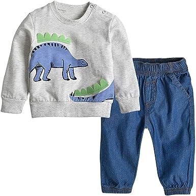 Puseky 2 Unids/Set Kid Baby Boy Ropa Dinosaurio Patrón Camisa de Manga Larga + Denim Pantalones Largos Conjunto de Traje (Color : Dinosaur, Size : 4Y-5Y): Amazon.es: Ropa y accesorios