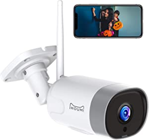 Security Camera Outdoor, IHOUMI 1080P WiFi Camera, IP66 Waterproof, IP Cam with Night Vision, Motion Detection, Compatible with iOS/Android, Work with Alexa