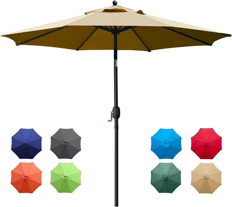 Sunnyglade 9Ft Patio Umbrella Outdoor Table Umbrella with 8 Sturdy Ribs (Tan)